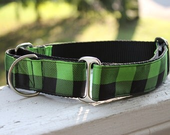 "The Lumberjack Green Plaid  1.5"" Martingale Collar"