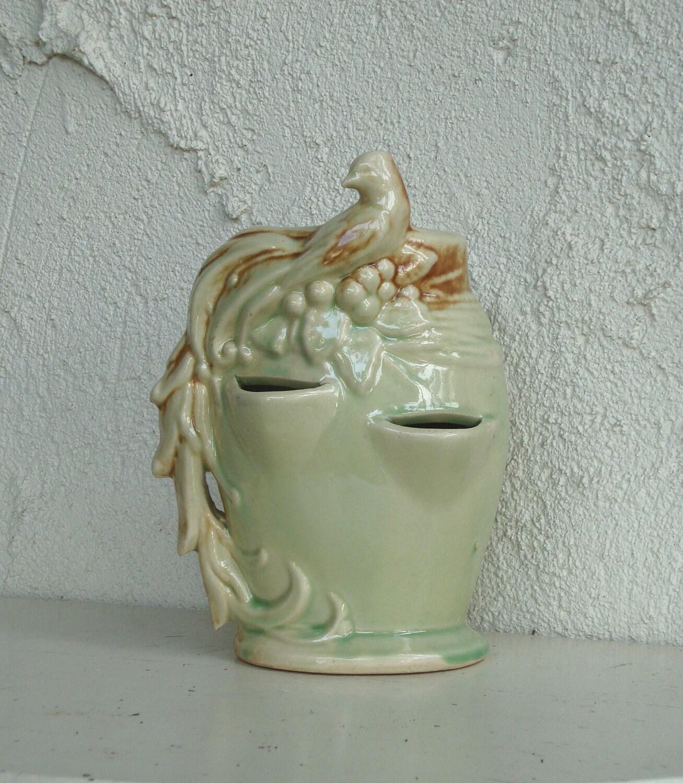 vintage bird mccoy strawberry planter pottery green
