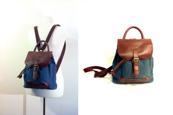 Whiskey Leather Denim Mini Backpack - Blue Jean and Leather Small Knapsack Rucksack Cinch Bag