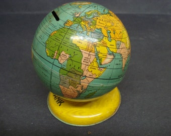 Wonderful ANTIQUE Toy  GLOBE BANK - Globe Saving  -Bank Made from Tin -  Signed - Toy Bank