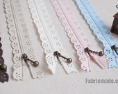 Long Zipper - Cream Scallop Lace Clothes Purse Bags Metal Zipper 5's - 12 Inches 11 colors available