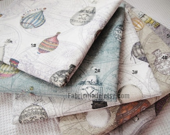Vintage Style Japanese Cotton Linen Fabric Cloth - Vintage Fire Balloon Circus Balloon World Map on Beige Green Purple Brown Grey 1/2 yard