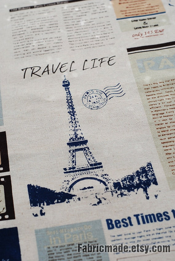 "French Cotton Linen Fabric Clothes- Paris Travel Life Paris Map Eiffel Bag Curtain Fabric - One panel 22""X55"""