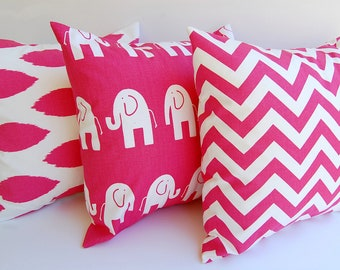 Hot Pink Throw pillow covers set of three Chevron Elephants Gotcha pink white cushion covers