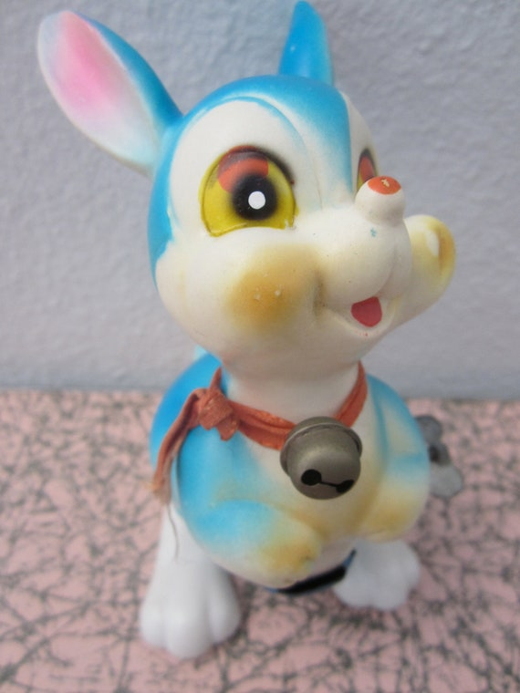 blue bunny rabbit wind-up toy 1960s