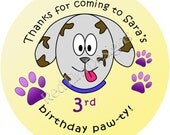 """Dog Puppy Party Stickers - Sheet of 20 - 2"""" round"""