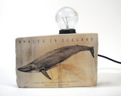Driftwood table lamp with Blue whale illustration. Small. Wooden lamp.