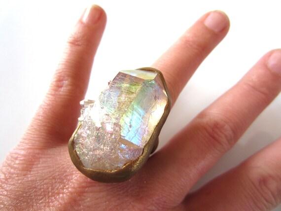 iduna - fantasy ring - raw angel aura quartz ring - huge raw stone cocktail ring - size 6.5