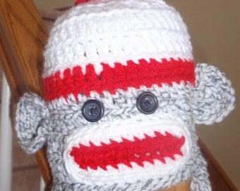Baby Crochet Sock Monkey Hat Photos