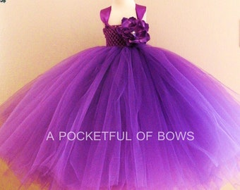 Purple Flower Girl Dress, Long Purple Tutu Dress, Girls Formal Dresses by A Pocketful of Bows