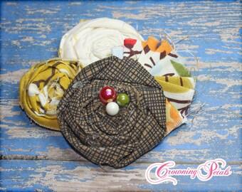 Flower Headband, Mustard Yellow, Brown, Red, White Headband, Hair Accessories, Newborn Hair Bows, Yellow Headband, Fabric Flower Brooch