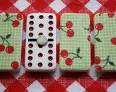 Merry Magnets- Set of 4 Reclaimed Dominos, Red Cherries on Green, Retro Kitchen, Teacher Gift, Housewares, Kitchen Decor, Housewarming Gift