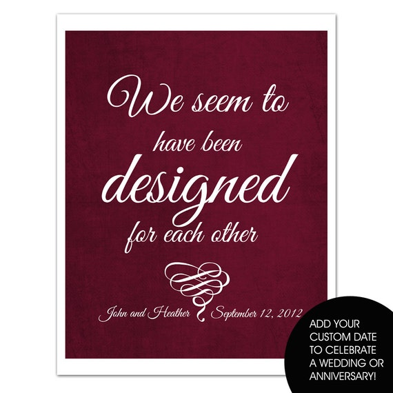 Jane Austen: Designed for Each Other, Personalized Couples Gifts,  Featured in BURGUNDY WINE, Wedding Art, LoveQuote, 8x10 typographic