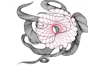 """Octopus Drawing - Carefully Calculated Cephalopod  - Fine Art Giclee Print of 6""""x4"""" Black and White Spirograph"""