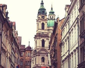 Prague Architecture photo, St. Nicholas Cathedral, Vintage color, B&W, Street scene, travel photo, Historical, cobblestone, under 50