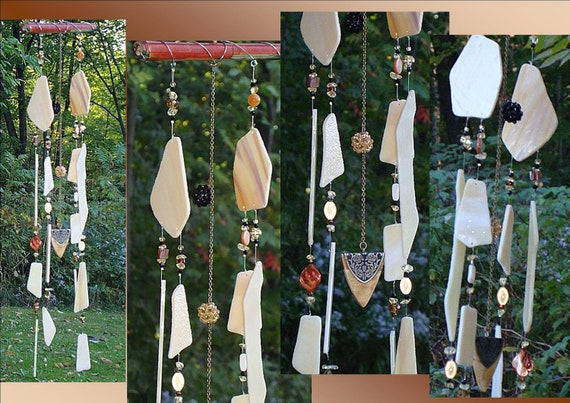 Mystery of Blodeuwedd Cream & Coffee Glass Crystal Ball Feng Shui Wind Chime