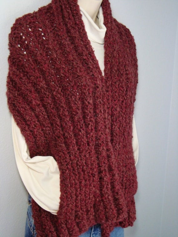 Knitting Pattern Scarf With Pockets : Hand Knitted Loom-Knitted Ribbed Scarf / Shawl with Pockets