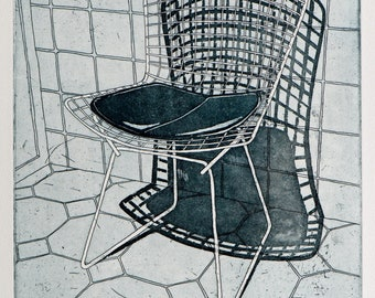 Original Etching - 'Wire Chair' - Etching by William White - Original Print - Black and White Etching - Free Shipping