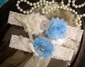 SALE-Wedding Garter - Ivory Lace Garter Set - Cream Garter - Bridal Garter - Vintage Garter - Light Blue Garter - Rhinestone - Pearl