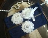 SALE-Wedding Garter - Navy Blue Lace Garter Set - Rhinestone Garter - Vintage - Bridal Garter - Garter - Toss Garter - Rhinestone - Pearl