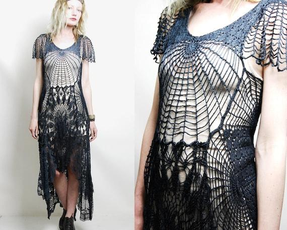 crochet dress vintage lace black cobweb spiderweb