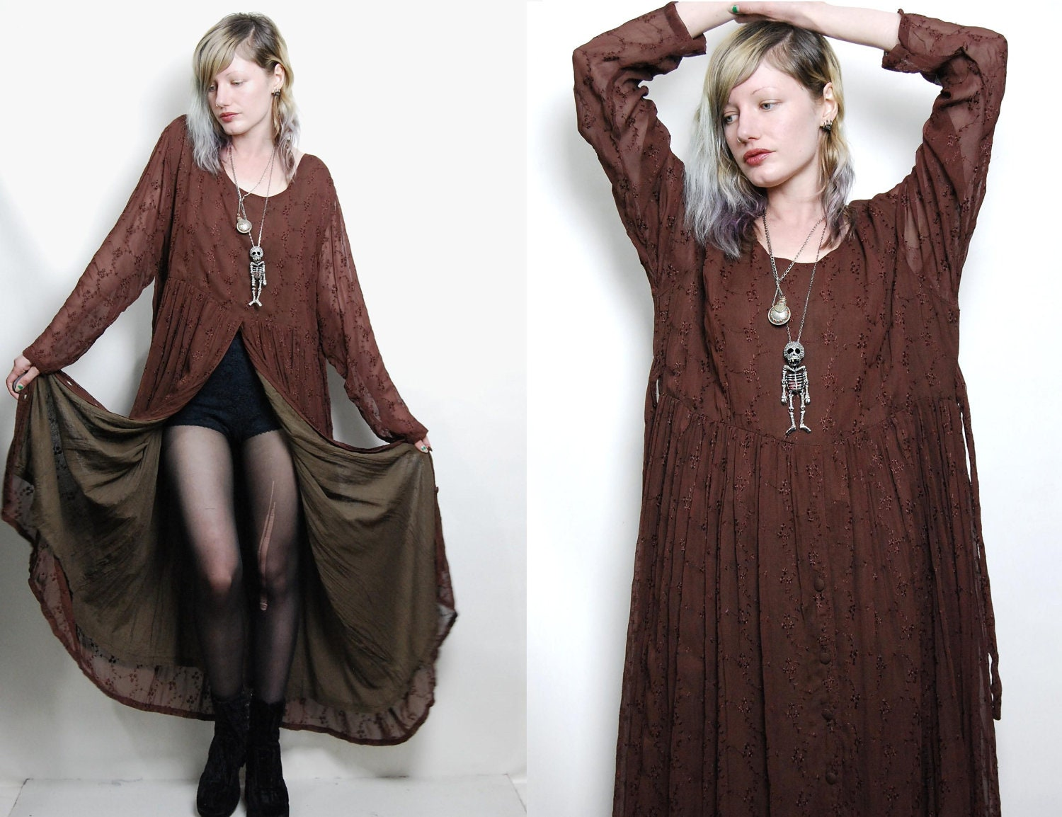 Vintage Wedding Dress 90s: 90s Vintage GRUNGE GYPSY Dress Babydoll Long Maxi Button Down