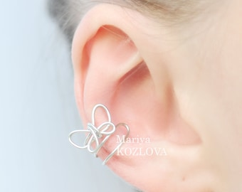 Fake Piercing Conch Ear Jacket Silver Butterfly/piercing imitation/falso false piercing/cartilage earcuff/ear manchette/ohr falsch piercing