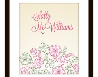 Personalized Baby Art Print with Flowers, Petals and Leaves