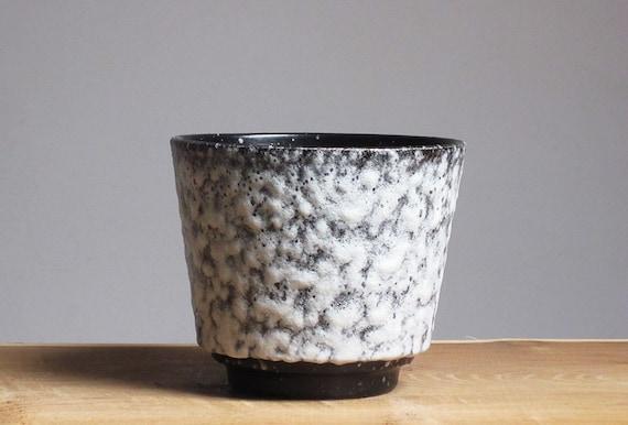 Black & white fat lava planter by ES-Keramik (West Germany)