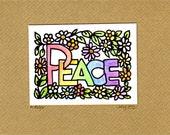 """Beautiful """"Peace"""" OOAK Greetings Card."""