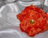 Couture Orange Silk Lotus Flower Headband