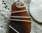 Brown Sea Glass and Sterling Pendant