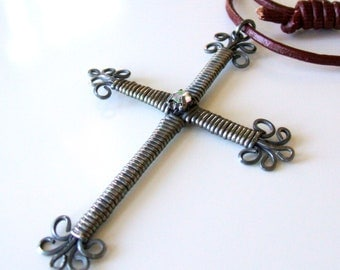 Wire wrapped cross necklace - Burgundy leather necklace with wire cross