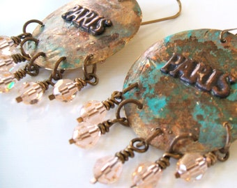 Recycled brass disc Paris earrings - Peach crystal verdigris patina metalwork earrings