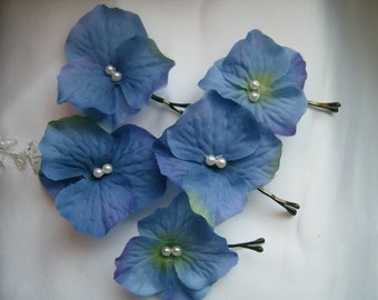 SALE Blue Hydrangea Hair Pins, Prom Flower Hair Accessories,Wedding Hairpins Ready to Ship