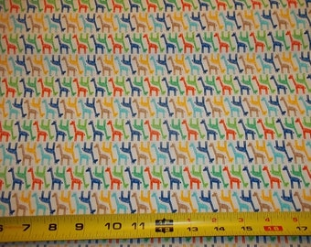 MINI  GIRAFFES  Up & Down Design  on MULTI Colored  Fabric   pattern  1 Yard - 100% cotton by Timeless Treasures