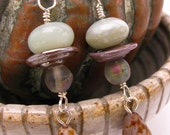 Pastiche Earrings - mint metallic mauve - glass crystal amazonite