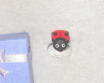 Ladybird Ring  -  made from Polymer Clay