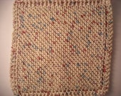 """Hand Knit Dish Cloth - Mix-N-Match - Cotton - Large 9"""" Square - Off-White with Flecks of Blue, Red and Purple"""