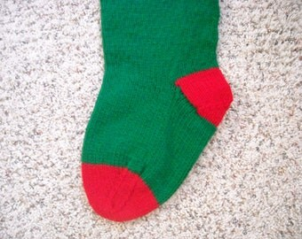 Personalized Christmas Stocking - 24 Inch - Red and Green - Hand Knit - Custom Order
