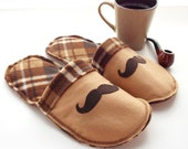 Men Shoes Mens Slippers Fleece Felt Brown Plaid Mustache  Scuffs House Shoes Tan  Grandpa Houes shoes Gift for Dad