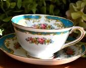 Vintage Tuscan Fine Bone China Tea Cup and Saucer, Naples, Aqua and Floral, Gold Gilt, England