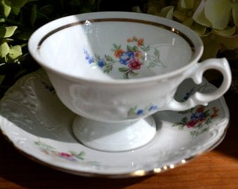 Vintage Wawel Fine Bone China Tea Cup and Saucer, Blue Pink Yellow Flowers, Gold Gilt, Poland