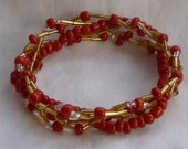 Red Gold Wave 5 Strand Beaded Stretch Bracelet - Custom Made to Size