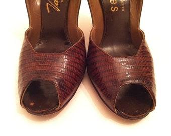 Brown Slingbacks, Lizard Skin Shoes, 40's Vintage Heels, Size 6.5, Women's Shoes, Peep Toes, Valley Shoes, Brown Vintage Women's Slingbacks