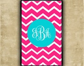 Kindle Fire cover - Hot pink chevron with Tiffany blue monogram Kindle Touch snap on case (9695)