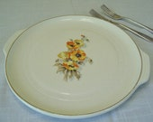 Knowles China PLAtter Orange  Yellow Poppies FLowers Vintage Cottage Chic Utility Ware