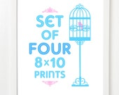 Set Of Four City Prints - City Skyline Posters - Pick Your Mix and Colors 8x10 image