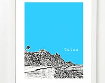 Tulum Mexico Print - Tulum City Skyline Series Poster - Tulum Wedding Gift or Tulum Wedding Guestbook