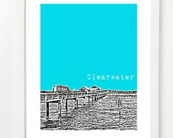 Clearwater, Florida Art Print - Clearwater City Skyline Series Poster - State Art